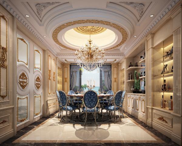 超大的餐厅配合超大的餐桌,推拉门一开就是外景,一边吃饭一边赏夜景。