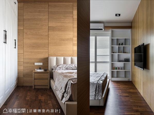 以木质为空间基底,地面铺贴实木地坪,电视墙和床头背墙皆为实木贴皮,创造出温润的调性。