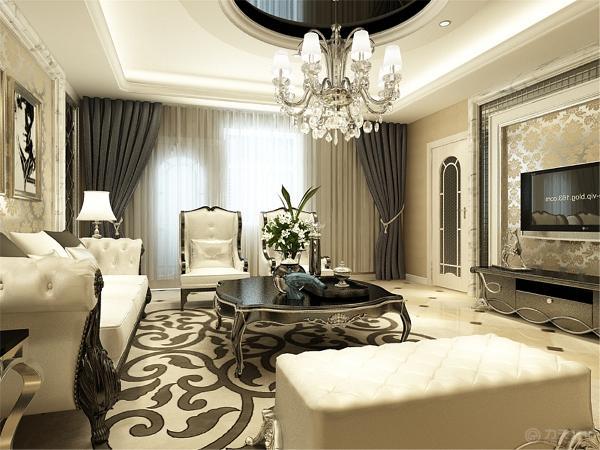 客厅用了米黄色的墙纸,浅色的地砖斜铺,顶面做了吊顶加上了圈边,中间还有一圈圆顶加上角线中间加上了黑镜。
