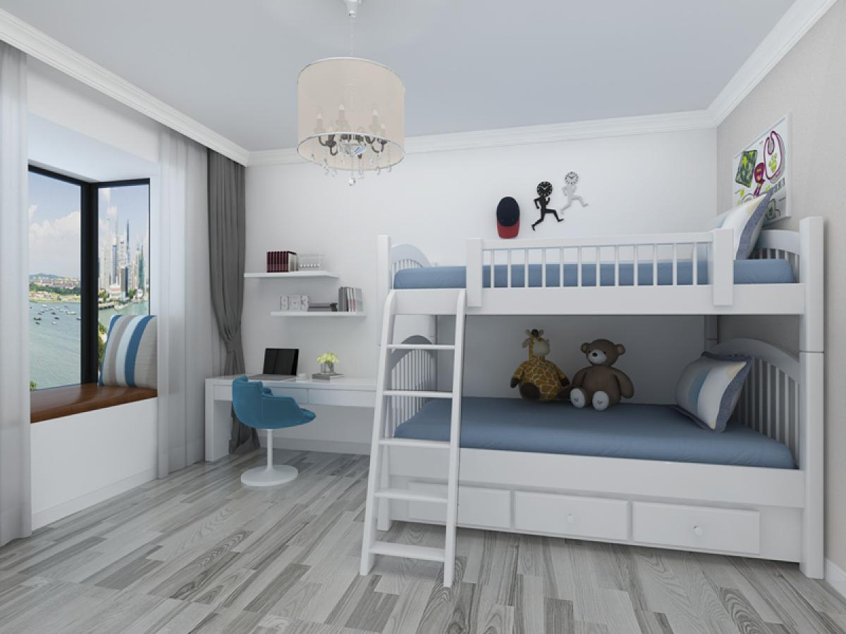 首页 装修效果图 儿童房 高低床充满童趣,浅蓝色配色是男孩子的最爱图片