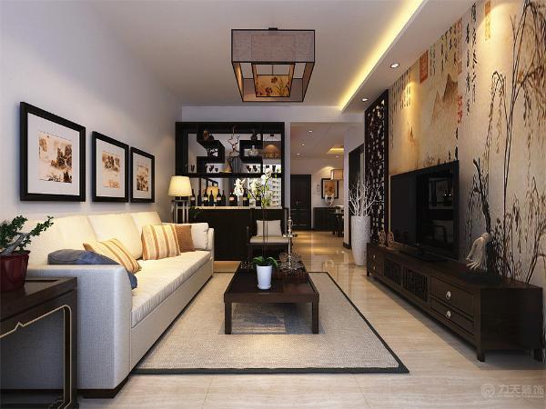 墙面为刷白色乳胶漆饰面,客厅地面通铺800*800的木纹石磁砖