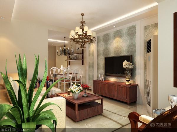 客厅电视背景墙采用石膏线圈边,中间加入大马士革花纹壁纸,运用青绿色调节室内感官温度,美观大方。