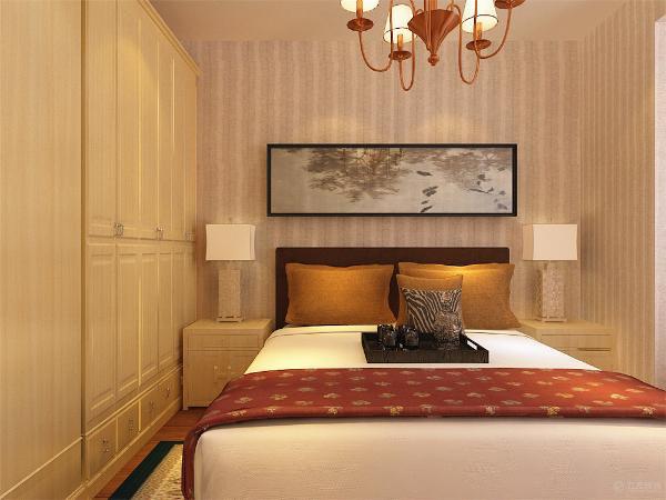 放双人床,加以装饰衣柜,床头加以装饰画