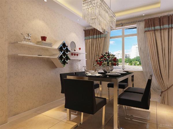 餐厅采用6人餐桌,墙上加展示架,既可以起到美观,又可以放东西,采用800*800防滑地砖,客餐厅采用回字形吊顶