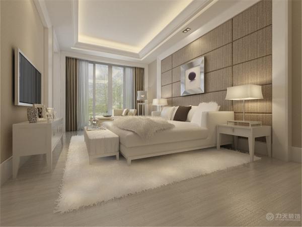 卧室的做的是暖色墙面,衣柜是现代式的推拉门衣柜,整个空间铺的是实木复合地板。