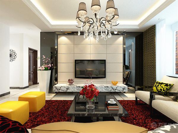 客厅非常宽敞,电视背景墙采用暖灰色方格造型板,用一块大理石板代替了电视柜,显得非常高贵,又非常时尚。