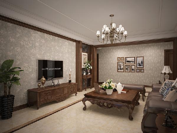 客厅墙面采用木材线条装饰,将墙面分割成一幅幅画面,精致美好,枝形吊灯选用暗色调金属材质,不流于浮华。