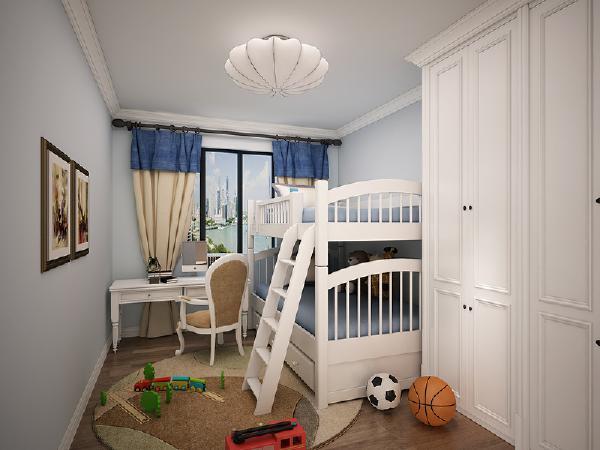 属于男孩子的儿童房多用蓝色来装饰,空间不大,但是功能齐全。