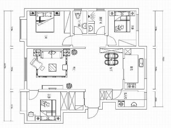 本方案为万科金域华府洋房标准层B户型3室2厅2卫1厨 115.00㎡的居室设计