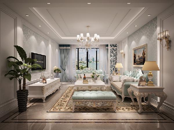客厅 颜色搭配是客厅设计的亮点,软装调色太美了,与壁纸色调相得益彰。多线条的回字形吊顶与墙面造型表现横平竖直,精巧雅致的工匠精神,对面拼花与地毯的搭配是家居的奢华元素,上档次,提气质。