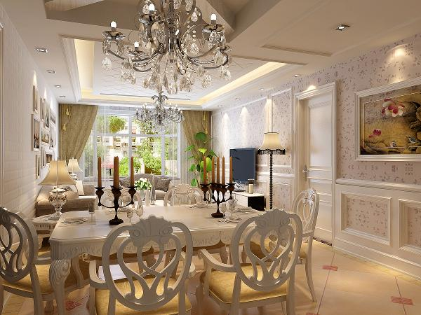 餐桌背景墙整体以具有强烈欧式风格的混油护墙板作为背景,其中搭配部分水银切边镜以提升整体质感及空间感效果。