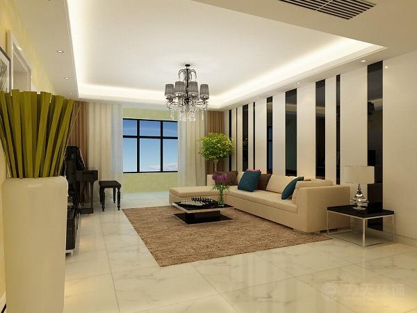 客厅用的白色的大理石,墙面选择的是米黄色乳胶漆,吊顶用的是回字形的吊顶