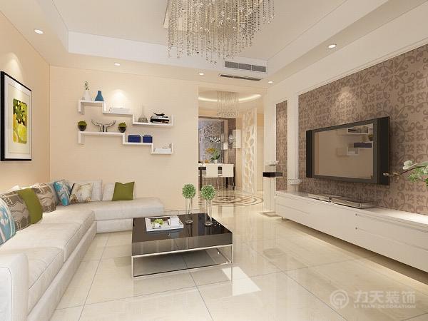 本案电视墙面壁纸的设计是整个住宅空间的亮点,运用了壁纸和白色石膏板相结合,其他墙面刷浅黄色墙漆,营造出现代化空间。