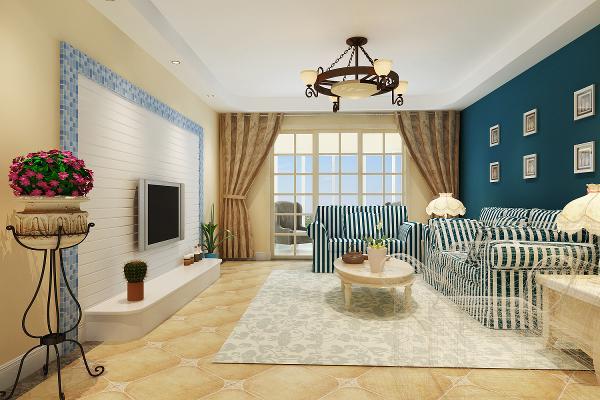 将客厅整体以米色为主,在顶面局部吊顶使空间具有一定层次感,电视背景墙面采用马赛克铺贴,使其具有一定凹凸层次感及色彩美观需求。沙发背景采用水曲柳木板擦色保留木质纹理且擦白体现细致清新质感