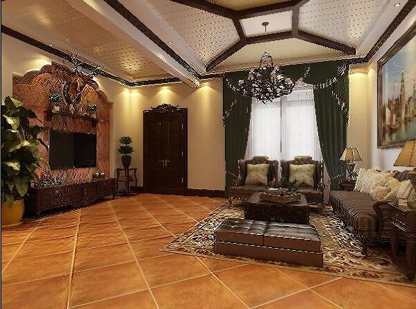 一层客厅,特别宽敞,是一个几乎方正的空间,顶面通过吊顶的手法和选材的形式来体现风格元素的点缀,背景墙以石膏板和帖砖加以后期的配饰来美化。整体简洁大气。