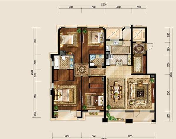 西山艺境(傲山湾)四室两厅两卫户型图