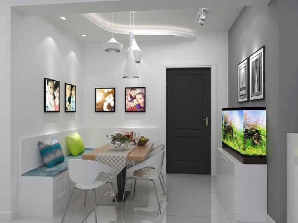 餐厅 卡座设计合理利用空间,也是一个可以作为储物空间的设计,十分精巧,这样进门处的鞋柜设计与卡座合二为一,最大化利用空间,有所隐藏更美观。