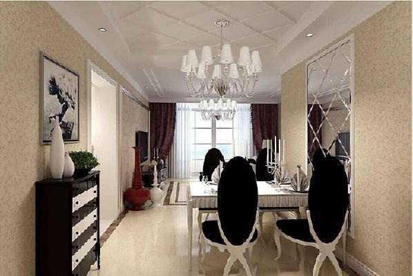 餐厅:餐厅的设计,采用欧式餐桌椅,颜色上和客厅的有差别,再加上简易白的柜子,让餐厅氛围变得明亮而带有一点清新,让餐厅更好的发挥其作用。颜色额分割更能增强空间视觉比例。