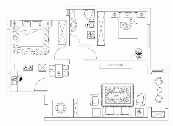 本户型为权鑫佳苑2室1厅1厨1卫83平米设计方案。风格为现代简约,入户直走是客厅区域,左手为厨房,顺时针往上依次是次卧、厕所和主卧室。