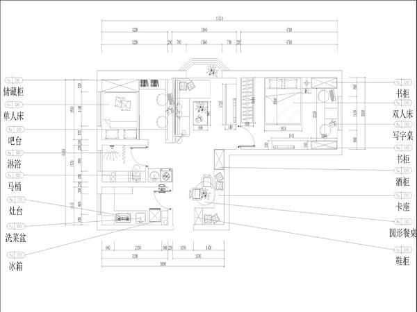 本户型为华城秋苑两室两厅一厨一卫70平米的户型