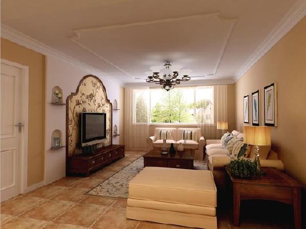 设计电视墙的时候采用贴壁纸的方式,划分电视墙的空间,而且章显了空间的奢华感。