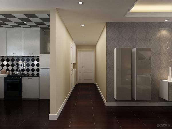 过道中,进入入户门映入眼帘的是白色鞋柜来做入户玄关,玄关后面过道是休闲区域