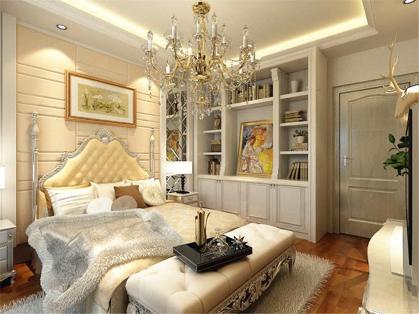 两个卧室也是墙壁上用非常漂亮的挂画装饰顶部一样的集成吊顶屋内配有边柜和落地开门衣柜显得空间既不狭窄又十分具有实用性!