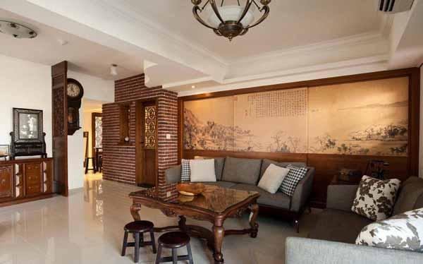 """客厅背墙使用大图输出,把秀润淡雅的""""富春山居图""""融入空间,疏密有致的笔墨山水与现代生活相映,极有古今交融之美。"""