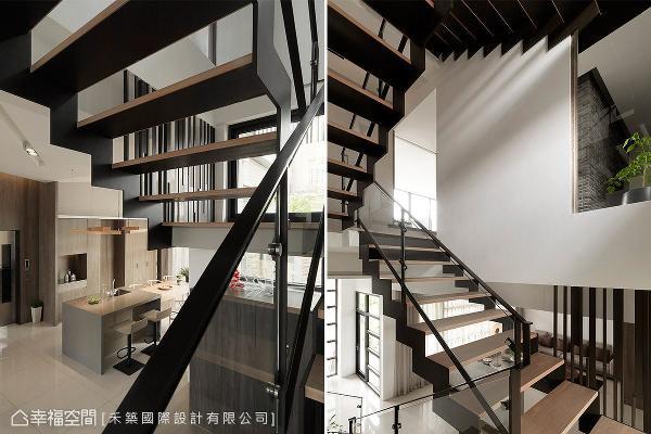 谭淑静设计师特别采用穿透式设计,铁件结构搭配木质踏阶,让楼梯成为室内的趣味端景。