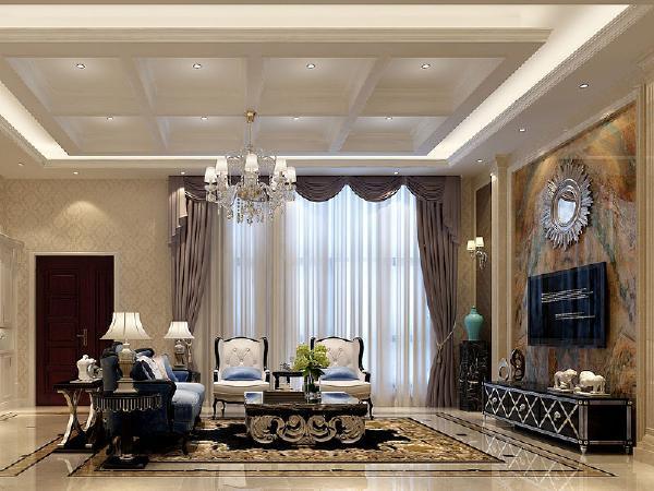客厅电视背景是以新古典风格的元素给予呼应的,用石材与硬包的结合,不仅能表现材质与材质之间的对比,还能彰显客厅的贵气。
