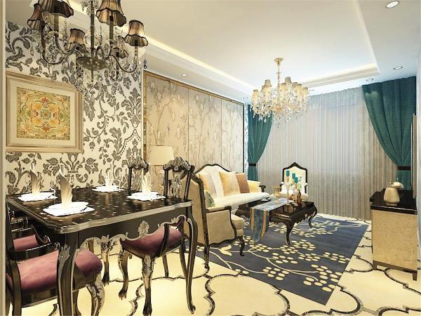 客餐厅整体为具有欧式风格壁纸,简单又不乏时尚感