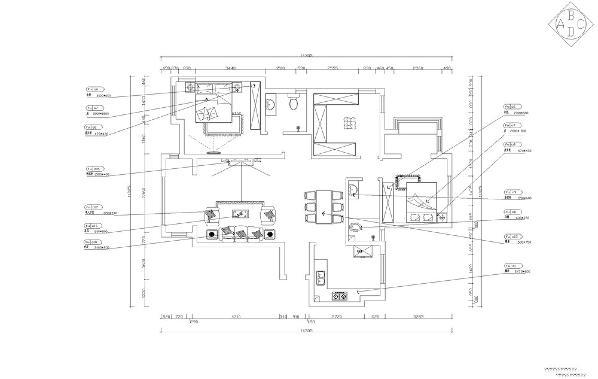 入门接触第一个空间是走廊,入目是客厅与餐厅,右手边为厨房,穿过走廊与客餐厅是休息区域,主卧空间与主卫,步入走廊岔口是书房与次卧空间,右手边为卫生间,次卧空间携带阳台。