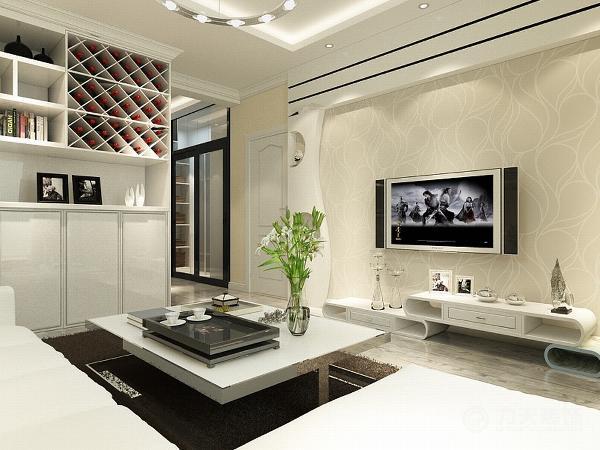 """客厅用了白色""""L""""型的沙发,后面墙上挂的照片墙,茶几也选择了以白色为主的茶几,吊顶是回字形吊顶下面加上了石膏线的圈边"""