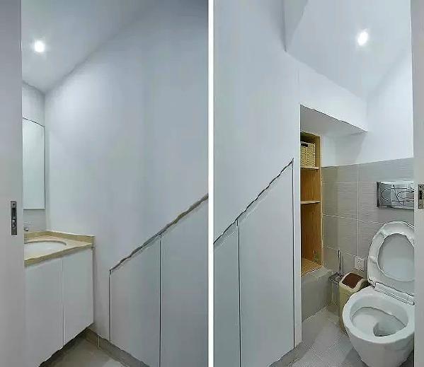 ▲ 一楼小卫生间,利用楼梯边和楼梯下方的狭长空间,储藏格设计巧妙,刚好可以放吸尘器、扫把等清洁工具