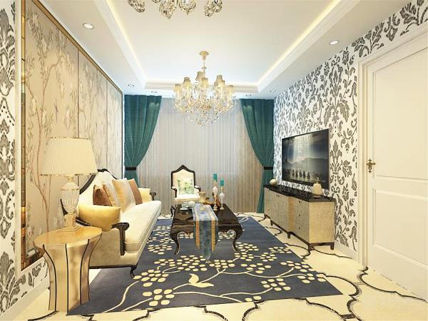 沙发背景墙为与壁纸不同的三幅落地花,四周以金属反光条手边。