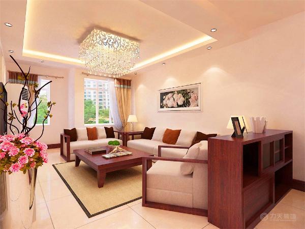 在沙发背景简单的挂上了白色的牡丹图,寓有富贵繁华的兆头。在灯具上则选择了简单的铁艺的吸顶灯,当灯点亮时,增加了空间的层次。