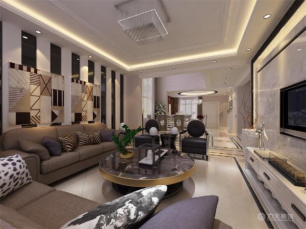 本案在总体上呈现,兼容并蓄的状况。内部运用许多现代工艺,例如大理石和烤漆面板的电视背景墙,和整体色调形成呼应总体大方得体.