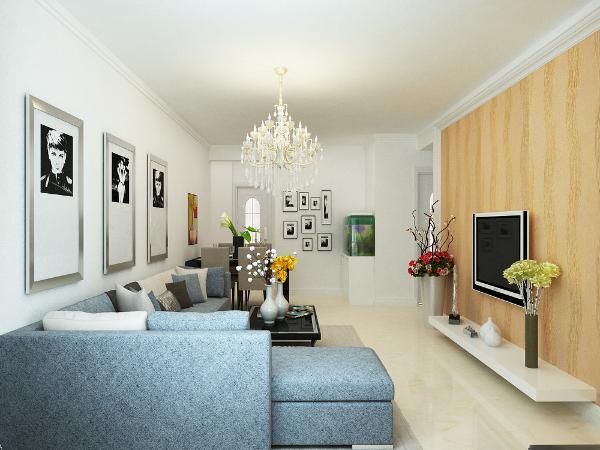 客厅背景墙采用石膏板造型,家具为原木色现代的组合家具,与整体空间完美的融合。