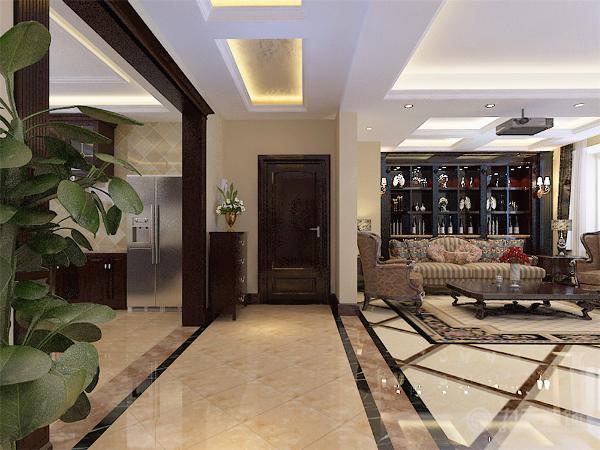走廊过道以简单的波打线圈边与拼花,吊顶采用两个长条图片