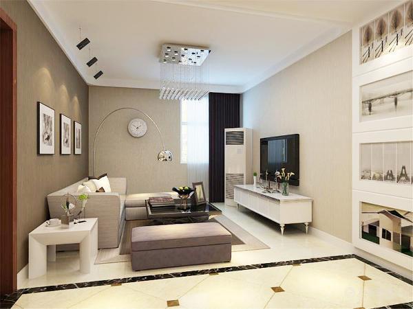 整个客厅餐厅贴的是壁纸,沙发背景墙贴的是比较重一点的颜色,沙发采用的是拐角沙发,茶几与电视柜形成了鲜明的黑白对比
