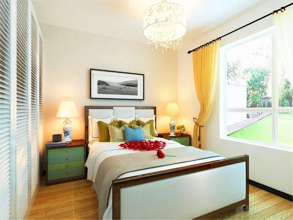 简单的墙面处理,刷了与客厅相同的浅咖色的乳胶漆,木地板的选用,提高