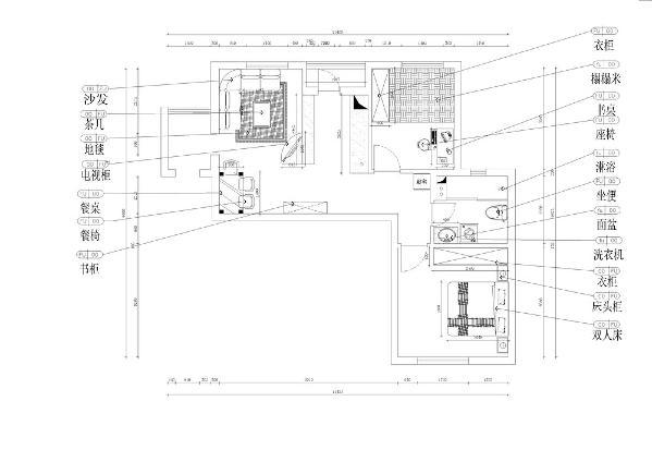 本案为海逸长洲2室2厅1厨1卫58.77㎡的户型。这次的设计风格定义为现代简约风格