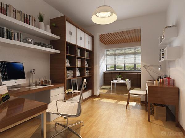 书房整体墙面也为白色,家具只要是木色与白色的搭配