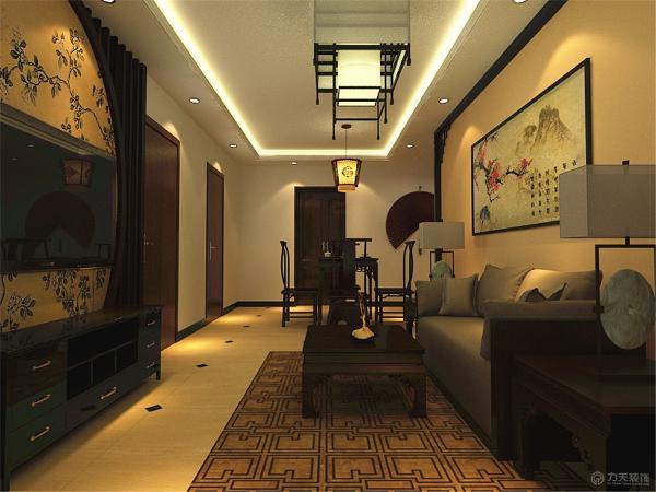本案中电视背景墙选择了木质雕花做造型来搭配简单中国画的壁纸来作为搭配使空间并不单一,家具则选择木质传统的中式家具,使客餐厅显得特别高贵和沉稳