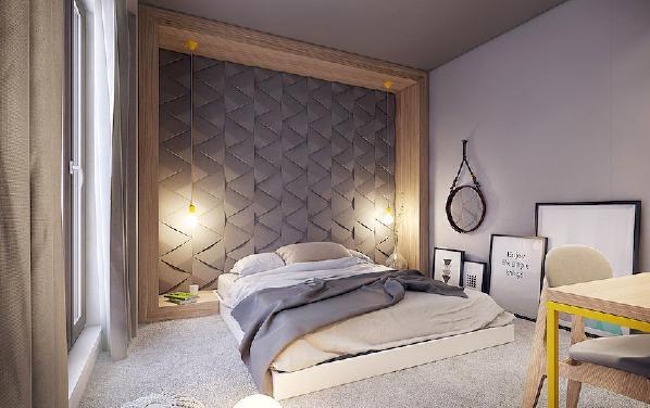 卧室背景墙连着床,物尽其用,都不需要床头柜