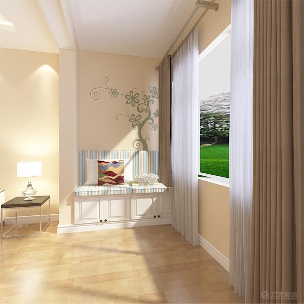 本案电视墙面壁纸的设计是整个住宅空间的亮点,运用了壁纸和白色石膏板相结合,其他墙面刷浅黄色墙漆,营造出现代化空间。另一个亮点就是餐厅,餐厅采用L型吊顶既简单大方又能有效地区别空间。