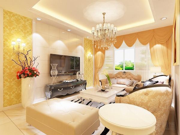 影视墙的设计采用石材与壁纸的结合。加壁灯装饰。欧式的沙发将欧式的风格更加凸显。