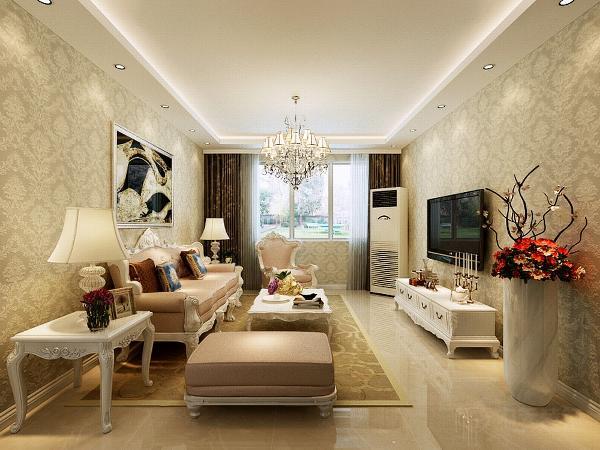 沙发的颜色为咖色,与整个空间的色彩相协调。电视背景墙边上的花瓶为整个空间的一个亮点。