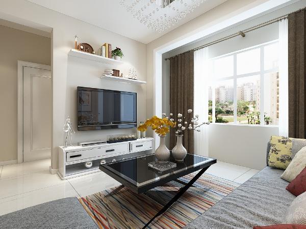 本案电视墙面壁纸的设计是整个住宅空间的亮点,运用了白色横条版的浅青色的墙漆搭配视觉很舒服。