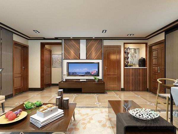 电视背景墙设计的很合理,短小的空间,用木质的电视柜做柜子,把背景用木质的结构来体现传统的风格。